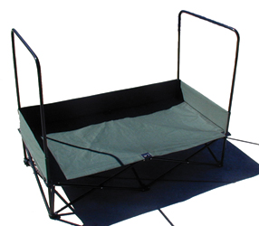 Large Dog Lounger™ Portable, Elevated Pet Bed with Awning